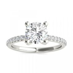 French Pave Diamond Prongs Engagement Ring - This ring features rounded inner edges for a more comfortable fit. Setting includes 0.42 carat total diamond weight.