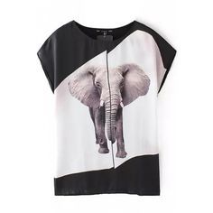 LUCLUC Color Block Elephant Printed T-Shirt ($22) ❤ liked on Polyvore featuring tops, t-shirts, lucluc, colorblock tee, colorblock top, color block t shirt, colorblock t shirt and color block tee