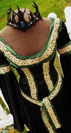 Black Satin Velvet Medieval Renaissance Dress by MJVOCouture, $800.00