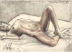 """Bedtimes V."" 4,25 x 6,89 inches, lead  and colored pencil/water color, 12,5 cm x 17,5 cm, Bleistift/Farbstift/Aquarell (© Andreas Noßmann)"