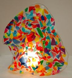 tissue paper stained glass sculpture