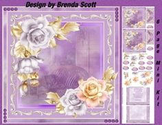 - 2 Approx 8 x 8 Card Topper each with a different muted scene center, Lots of Decoupage, Matching Gift Tags for each desig. Birthday Special Friend, Birthday Verses, Purple Vase, Rose Price, Matching Gifts, Warm Spring, Brighten Your Day, Happy Anniversary, Pansies