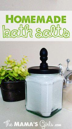 DIY Bath Salts: 3 c. Epsom Salt, 1 ½ c. baking soda, 1 ½ c. water softener (in laundry detergent aisle), essential oils