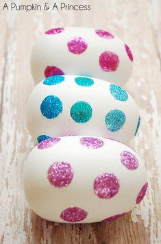 DIY Glitter Polka Dot Easter Eggs !!