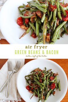 This recipe for Air Fryer Green Beans with Bacon uses 4 ingredients and is ready in less than 15 minutes. The perfect side dish for grilled chicken or beef. Rice Recipes For Dinner, Dinner Dishes, Side Dish Recipes, Lunch Recipes, Bacon Crisps, Green Beans With Bacon, Vegetable Side Dishes, Vegetable Recipes, Evening Meals