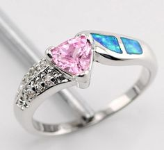 'Lab Created Pink Topaz & Blue Fire Opal Ring .925 sz7' is going up for auction at  5am Sun, Jun 30 with a starting bid of $10.