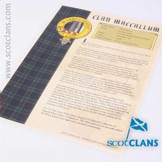 MacCallum Clan History Print. Free Worldwide Shipping Available