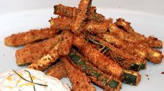 """Parmesan-Crusted Zucchini """"Fries"""" Bake Zucchini, Zucchini Fries, Parmesan Crusted Zucchini, Snack Recipes, Vegetarian Recipes, Healthy Desserts, Healthy Recipes, Rabbit Food, Best Appetizers"""
