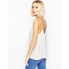 ASOS Plunge Neck Pleated Cami Top With Strappy Back ($45) ❤ liked on Polyvore featuring tops, grey, v neck camisole, strappy tank top, grey camisole, cami tank и cami tank tops