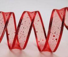 Stuha červená lesklá - síťovaná s drátem ( 25mm x 2m ) AKCE 1+1 ZDARMA