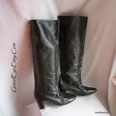 Vintage Custom Made Leather Riding Boots  Size 9 .5 Eu by GoodEye