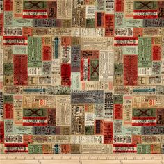 Designed by Tim Holtz for Coats and Clark, this cotton print fabric is perfect for quilting, apparel, and home decor accents. Colors include shades of beige, tan, red, green, teal, and grey.