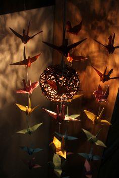 Origami Paper Crane Mobile Baby Mobile Cranes Hanging Light Fixture Lamp Pendant Edison Lightbulb Crane Garland via Etsy