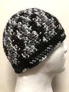 a74857280e6 Mens TEEN Crochet SKI Hat Beanie USA Handmade Brand New HICKORY  BARK-cap-GRAY-L