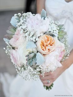 Gorgeous Wedding Bouquet from Flower Muse - roses, peonies, baby's breath, sweet peas, and dusty miller