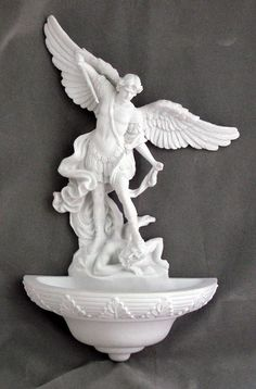 White Archangel Saint Michael holy water font. Use in church, chapel or as a home devotional. Holy water fonts are a traditional Catholic gift. Saint Michael holy water font is from the Veronese Colle
