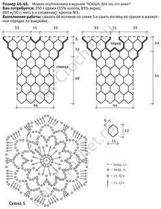 Выкройка, схемы узоров с описанием вязания крючком женского пуловера из круговых мотивов размера 46-48.