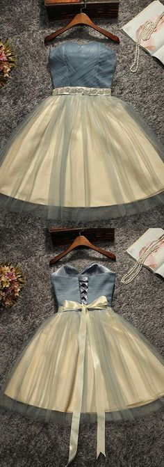 Cute A-Line Sweetheart Tulle Short Homecoming/Prom Dress with Bowknot