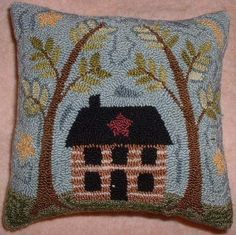 Primitive Needle Punch Pattern Cabin In The Woods