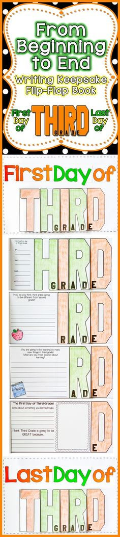 FUN, Interactive, and a great Keepsake for your parents. Have your students create a T-H-I-R-D Grade Flip-Flap Writing Keepsake on the First Day of School and the Last Day of School. Parents will cherish it for years to come!$ by christine