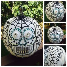Day of the dead pumpkin Halloween Pumpkin Designs, Sugar Skull Halloween, Halloween Pumpkins, Halloween Crafts, Halloween Decorations, Halloween Ideas, No Carve Pumpkin Decorating, Pumpkin Carving, Decorating Pumpkins
