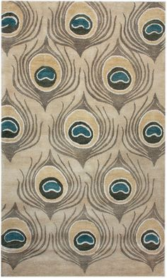 Modernrugs.com Peacock Feather Eye Beige Bohemian Rug