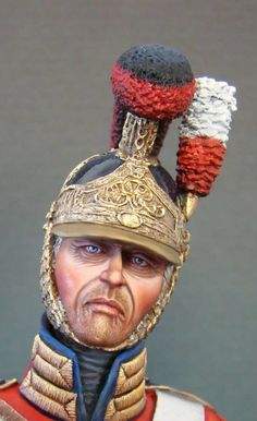 British Life Guard miniature bust.  The Life Guards regiments were heavily engaged on the Waterloo campaign, making numerous charges on June 18th, until they could no longer muster enough men to charge.  The few still in fighting shape were finally posted in the rear of squares to prevent the infantry from running.