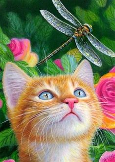 🎭 classic dessert women making animal forbackpain vibes boho cat floor face Orange Kittens, Cats And Kittens, Chatons Oranges, I Love Cats, Cute Cats, Animals And Pets, Cute Animals, Garden Painting, Painting Art