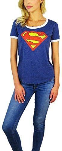 a8dfab64604 DC Comics Womens Superman Burnout Ringer Tee (Medium