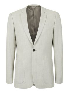 Beige Stone Wool Skinny Fit Suit Jacket