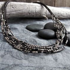 Reserved for Mgalayda Faceted Silver & Brown Leather Necklace with two bracelets