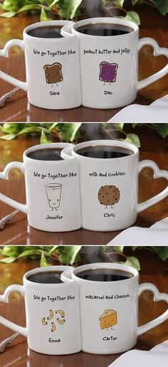 COUPLE'S CUPS! Too cute... until you realize somone gets more coffee