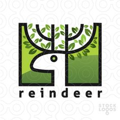 Logo represents deer's head with leaves growing on his horns. Keywords: unity, calmness, balance, purity, deer, outdoor, buck, antler, park, stag, orest, hunting, wild, nature, landscape, wildlife, moose.
