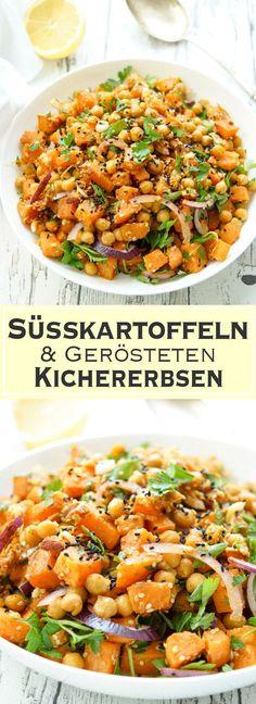 Ein gesundes Rezept für einen Salat aus Süßkartoffeln mit gerösteten Kichererbsen und einem Chili-Koriander-Kreuzkümmel-Dressing. Ein veganes Gericht auf rein pflanzlicher Basis, das auch noch glutenfrei ist.