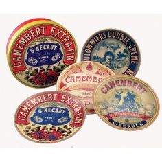 Camembert Canape Plates - set of 4 - attractive plates packed in a box.