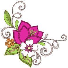 Hand-Drawn Sketchy Notebook Doodle Flowers vector art illustration