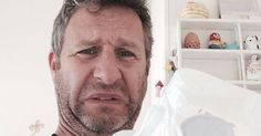 "We're celebrating #FridayFunny with the ‪#Smelfie!  Comedian Adam Hills starts the trend of dad posting pictures of themselves changing diapers called ""smelfies."""
