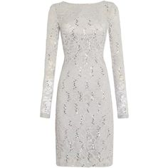 JS Collections Long sleeve dress with sequin lace ($120) ❤ liked on Polyvore featuring dresses, clearance, silver, lacy white dress, white long-sleeve dresses, white lace dress, long sleeve shift dress and long sleeve sequin dress