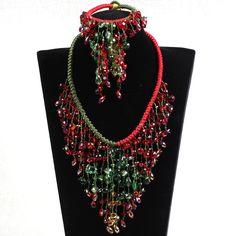 Роскошный дизайн красный и зеленый серии кристалл подвеска себе рождественские украшения комплект ( колье серьги и браслет соответствие )купить в магазине Lucky Fox JewelryнаAliExpress
