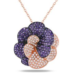 Miadora Sterling Silver Purple and  Cubic Zirconia Necklace ($83) ❤ liked on Polyvore featuring jewelry, necklaces, cz pendant necklace, sterling silver cubic zirconia necklace, sterling silver cz necklace, purple pendant and purple pendant necklace