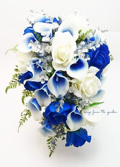 Silver Blue and White Cascade Bridal Bouquet Blue Picasso Callas White Roses, Silver and Rhinestones Accents