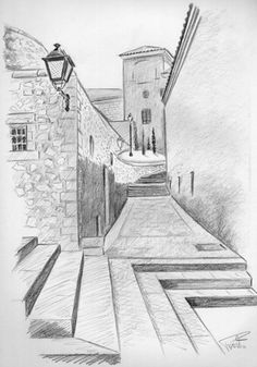 New drawing lapiz paisaje 18 Ideas<br> Cool Art Drawings, Pencil Art Drawings, Art Drawings Sketches, Easy Drawings, Pencil Sketches Landscape, Landscape Drawings, Cool Landscapes, Perspective Drawing, Point Perspective