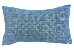 Sky Blue Embroidered Pillow