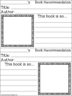 Book Recommendation Cards  Th Grade Language Arts