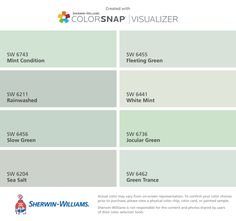 I found these colors with ColorSnap® Visualizer for iPhone by Sherwin-Williams: Mint Condition (SW 6743), Rainwashed (SW 6211), Slow Green (SW 6456), Sea Salt (SW 6204), Fleeting Green (SW 6455), White Mint (SW 6441), Jocular Green (SW 6736), Green Trance (SW 6462).