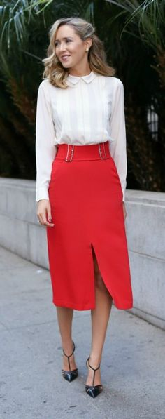 red midi skirt, ivory pleated blouse, black pointy toe pump {workwear, office style}