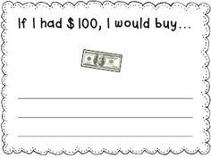 Free 100th Day writing prompt from Mrs. Jones's Kindergarten.