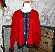 A beautiful vintage red wool sweater by Tally Ho  #wool #women's vintage clothing #women's sweaters #women's outerwear #vintage sweater #vintage cardigan #Tally Ho #red wool sweater #Red #outerwear #Gift for her #For Sale #For her #beautiful