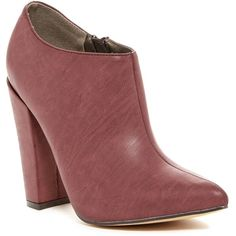 Michael Antonio Junior Chunky Boot ($37) ❤ liked on Polyvore featuring shoes, boots, burgundy, chunky-heel boots, high heel shoes, pointy-toe boots, burgundy high heel boots and faux-fur boots