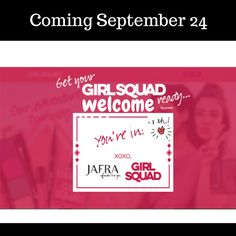 JUST ANNOUNCED: Coming September 24 GirlSquad Glam-on-the-go! Who's on your squad??  Enter sweepstakes through September 23 @ www.jafragirlsquad.com #girlsquad #squadgoals #acnecare #jafragirlsquad  #royaljelly #skincare #acnecare #makeup #fragrance #spa #footial #handcial #mudmask #hairmask #haircare #mensgrooming #mensfragrance #jafra #giftbaskets #childrensgifts #volunteer #service #fundraising #raffles #auctions #militarydiscount #seniordiscount #businessinabag #homebusiness…